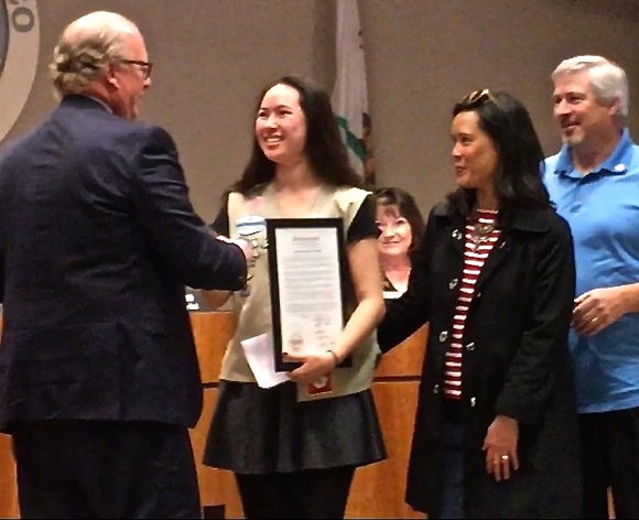 Local Girl Scout recognized by San Mateo County Board of Supervisors for getting Pulse Point implemented