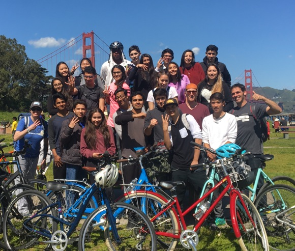 Students in M-A Academy program rewarded for their 3.0 or higher grade point with bike trip in the City
