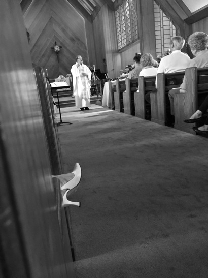 """Spotted: Shoes """"listening"""" to Easter sermon  at Trinity Church"""