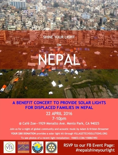 Post image for Benefit to provide solar lights for displaced Nepalese set for April 22 at Cafe Zoe
