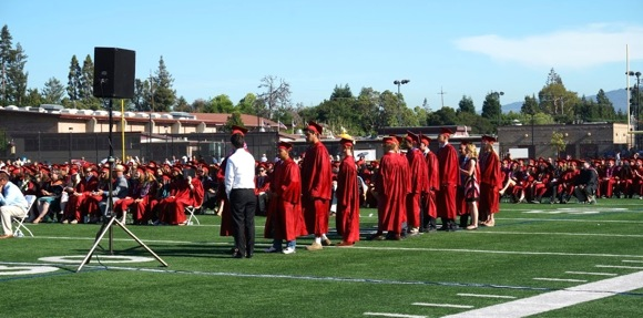 Spotted: Happy seniors at Menlo-Atherton High School graduation ceremony