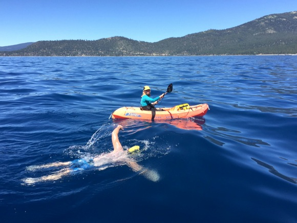 Scott Kaloust swimming Lake Tahoe