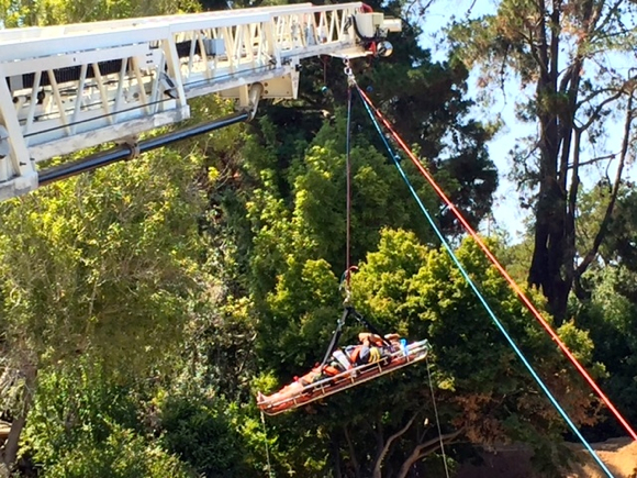 "Post image for Menlo Fire makeshift ""sky crane"" lifts injured man from construction site"