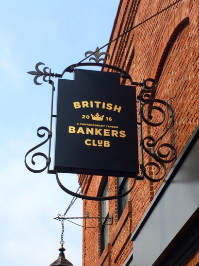 new British Bankers Club sign