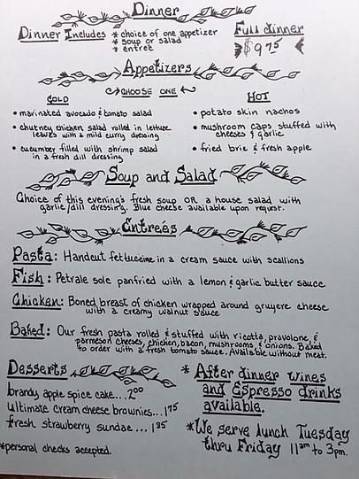 Flea St 80s menu
