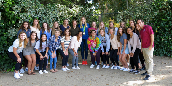 Post image for Olympian KK Clark visits her alma mater, Sacred Heart Prep, in Atherton with a gold medal around her neck