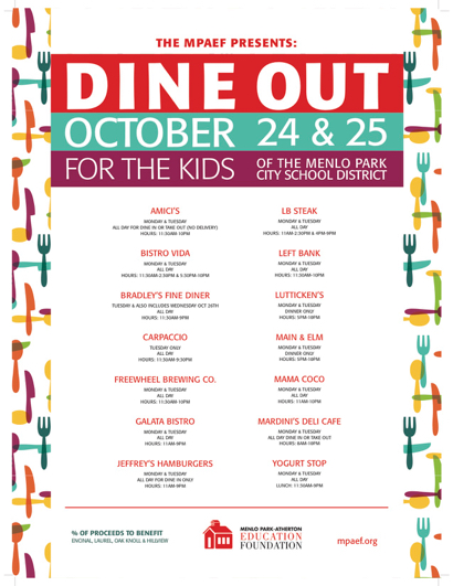 Post image for Dine Out on Oct. 24 and Oct. 25 to support local schools
