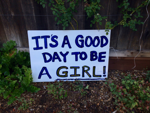 Post image for Spotted: Salute to being a girl sign on election day