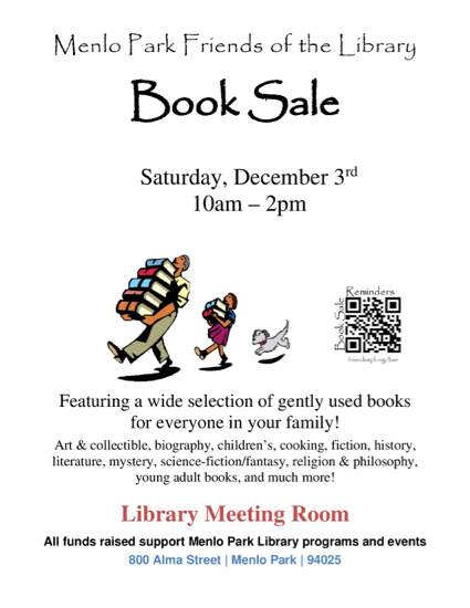 Friends of the Menlo Park Library host one day sale on December 3