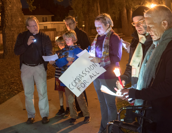 "Post image for People gather for ""kindness vigil"" at Fremont Park in Menlo Park"