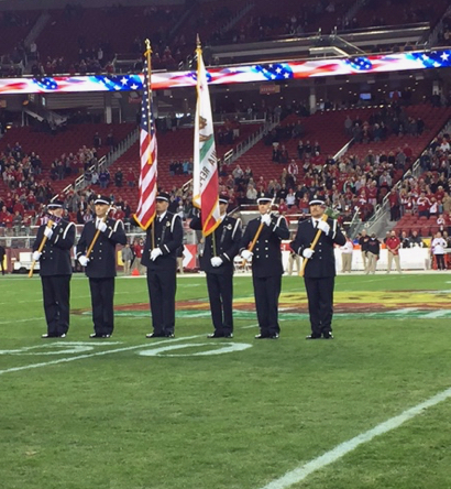 Post image for Spotted: Menlo Park Firefighters Honor Guard at Foster Farm Bowl