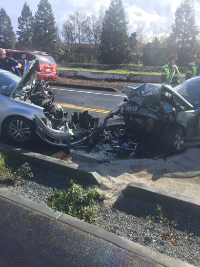 Bad car damage, thankfully little human damage, following head-on collision in Menlo Park today