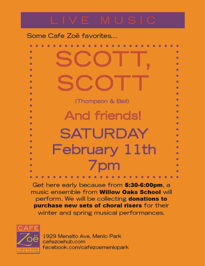Post image for Music and fundraising for Willow Oaks School at Cafe Zoë  on Saturday, Feb. 11