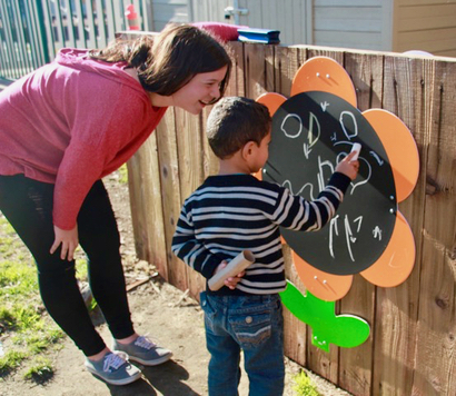 NCL 2019 Class builds creative outdoor space at All Five pilot school in Belle Haven