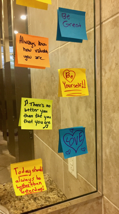 Spotted: Notes of encouragement for girls at Burgess