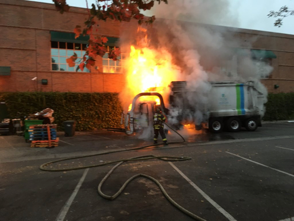 Post image for Spotted: Garbage truck on fire near Draeger's market