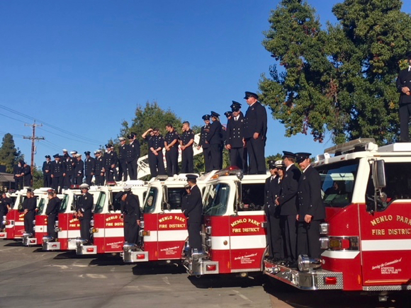 Menlo fire fighters and district officials gather for official 100th anniversary photo