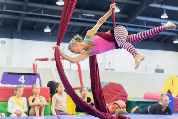 Moni Santini-Kelly teaches circus arts in Menlo Park