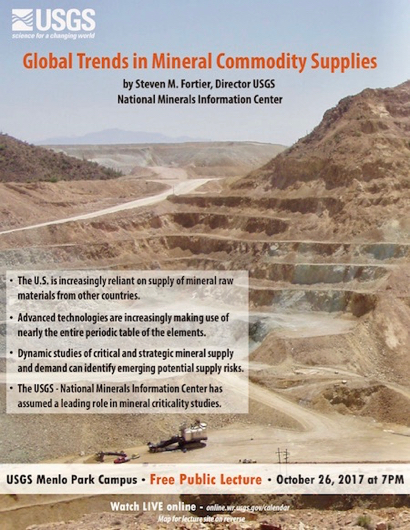 "Post image for ""Global Trends in Mineral Commodity Supplies"" is USGS public lecture on Oct. 26"