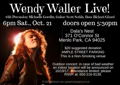 Post image for Next house concert at Dala's Nest features Wendy Waller on Oct. 21