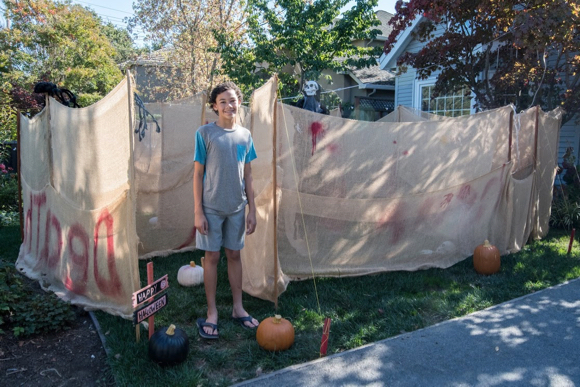 William Floyd constructs a maze for Halloween in his front yard