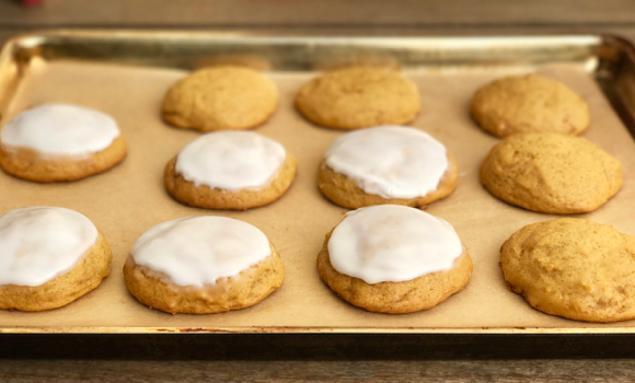 Just in time for Halloween parties – soft frosted pumpkin cookies
