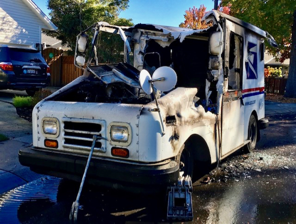 Post image for Postal vehicle fire disrupts mail service to Suburban Park residents