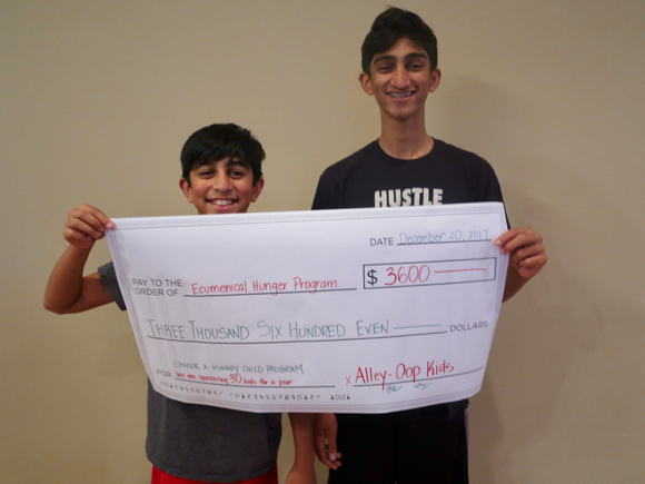 Rishan Patel gets involved with Alley Oop Kids by raising money for Ecumenical Hunger Program