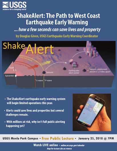 """""""ShakeAlert: The Path to West Coast Early Warning"""" is topic of USGS lecture on Jan. 25"""