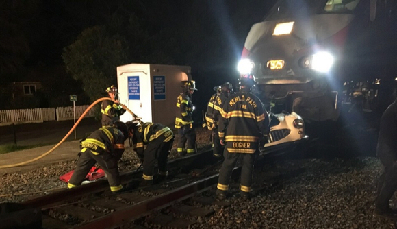 Classic car gets nailed by Caltrain locomotive at Atherton rail crossing