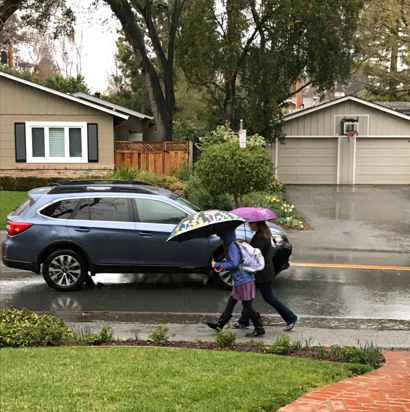 Fast moving rain storm hits Menlo Park Monday morning