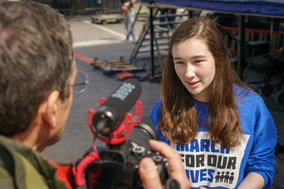 Post image for Spotted: Menlo Park teen being interviewed at San Francisco March for Our Lives event