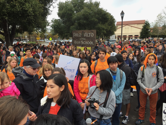 Atherton resident Laura Daschbach Pitchford speaks out about gun violence at Palo Alto High School