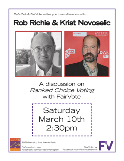 Post image for FairVote & Nirvana – all in one afternoon at Cafe Zoë on March 10
