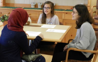 Christian and Muslim youth learn about each other's traditions at Trinity Church in Menlo Park