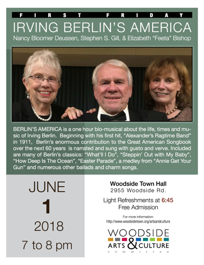 First Friday in Woodside salutes the life and music of Irving Berlin