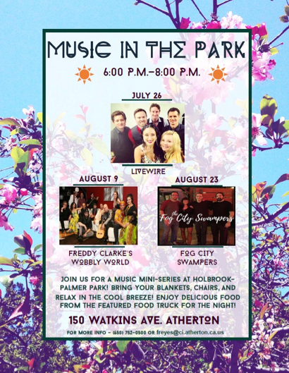 Post image for Atherton hosts summer concert series at Holbrook-Palmer Park