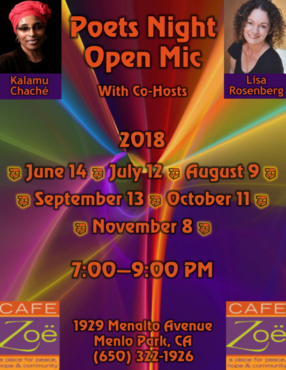 Post image for Poets Night Open Mic continues at Cafe Zoë on July 12