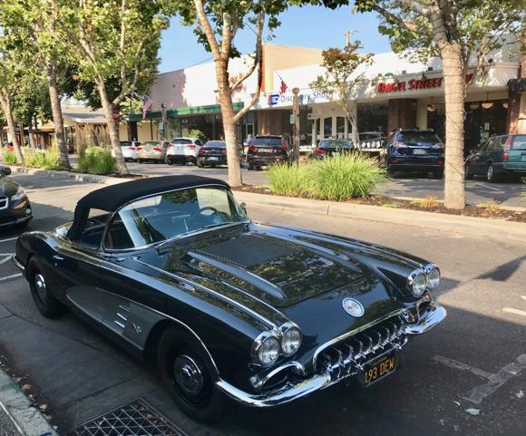 Spotted: 1956 Chevrolet Corvette convertible in downtown Menlo Park