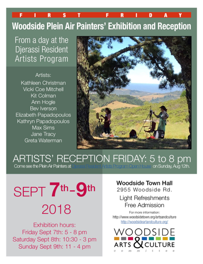 Post image for Woodside Plein Air Painters exhibit work from Sept. 7-9