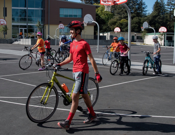 Bike safety training in Menlo Park teaches middle school kids how to navigate city streets