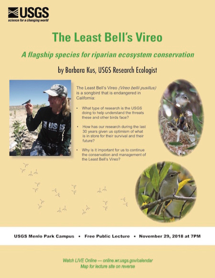 Post image for USGS public lecture on Nov. 29 looks at endangered songbird