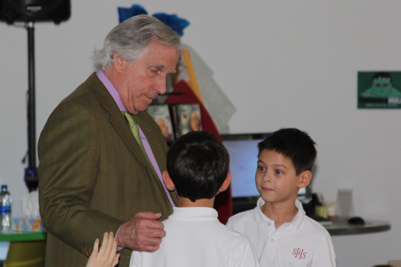 Henry Winkler delights Sacred Heart School lower school kids with wit, wisdom – and stories