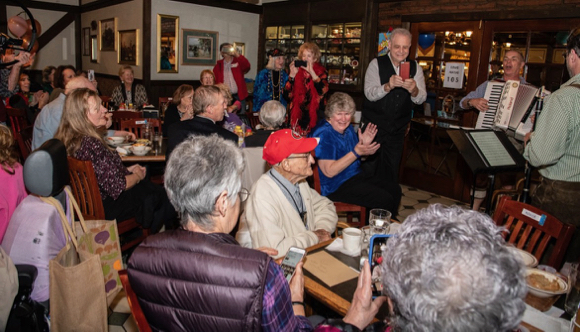 Atherton resident Lou Matas celebrates his 105th birthday at Harry's Hofbrau