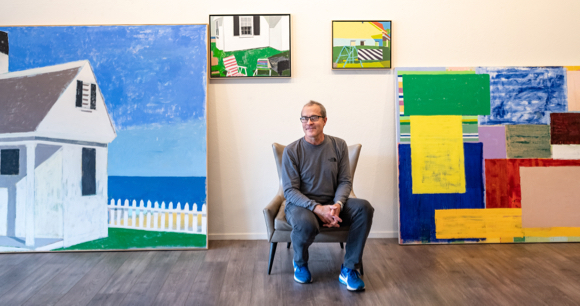 Artist Mitchell Johnson's paintings on display in downtown Menlo Park