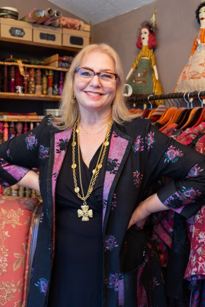 Aida Dalati crafts beautiful brocade jackets in her Allied Arts boutique