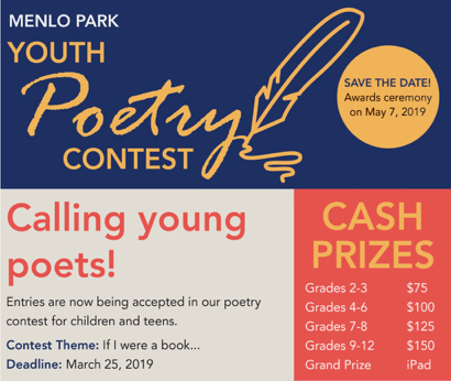 """If I Were a Book…"" is theme of Menlo Park Youth Poetry Contest"