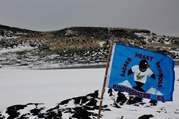 Sacred Heart School's two Kindergarten classes' flags flown in Antarctica