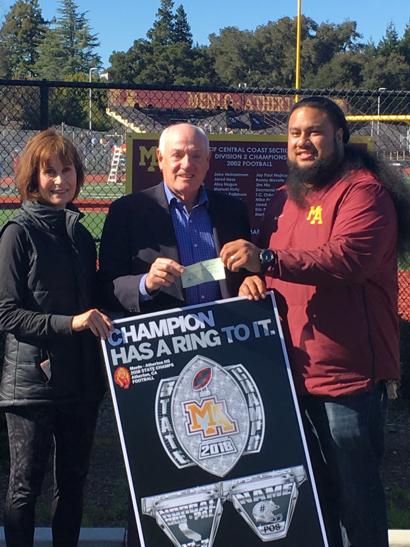 Menlo Park Kiwanis Club donates $5,000 to M-A Football Association