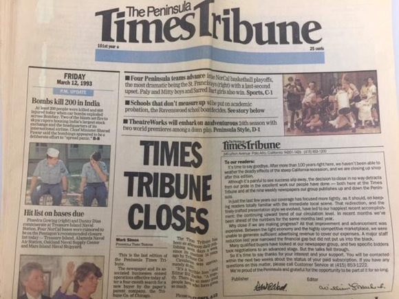 Sad day for community journalism 26 years ago